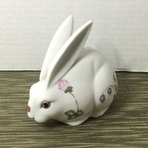 Rabbit Bunny Hare Statue Figurine Bank Hand Painted Vintage White Floral - $14.99
