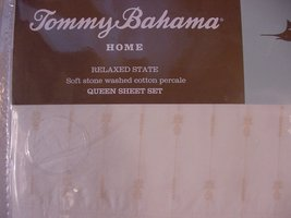 Tommy Bahama Pineapple Pinstripe Beige on White Cotton Percale Sheet Set... - $89.99