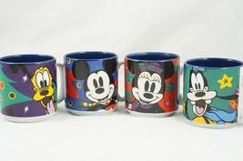 Disney Set of 4 10oz Mugs Enchanted Christmas Mickey Minnie Goofy Pluto - $23.71