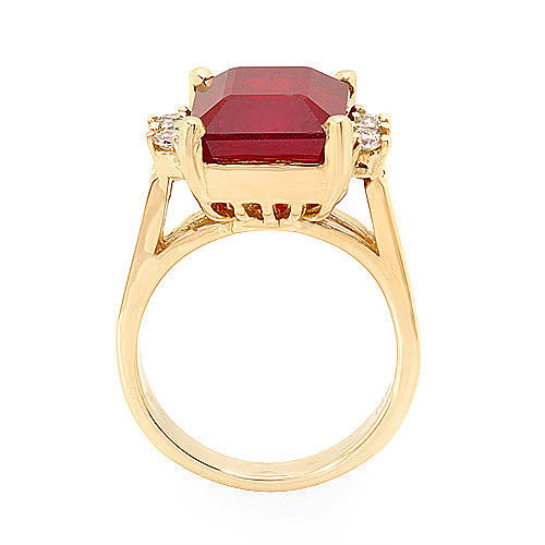Estate ring 9.3 ct natural ruby and diamond 14k gold