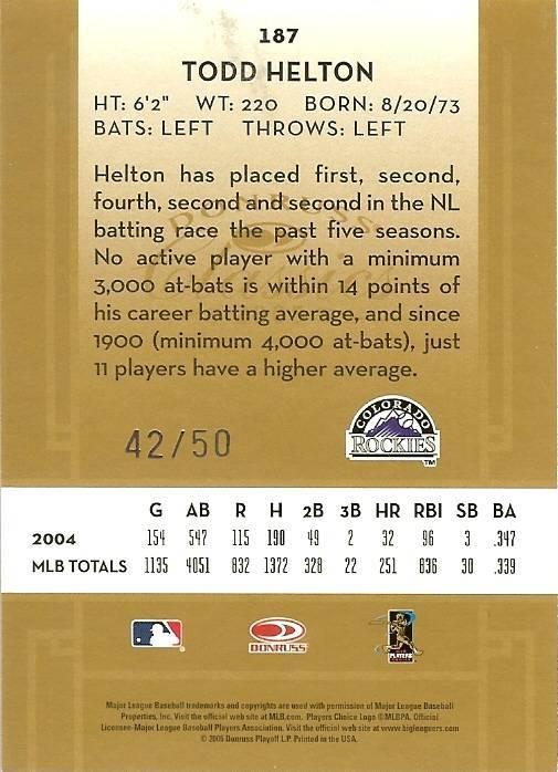2005 DONRUSS ROCKIES TODD HELTON SERIAL # 42/50