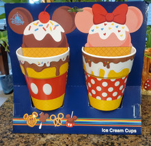 NWT Disney Parks Minnie Mickey Mouse Snack Icons Ice Cream Cup Set of 2 - $24.74