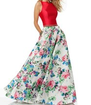 Women's Long Floral High Neck Beaded Prom Party Evening Dress with Pockets - $2.747,03 MXN