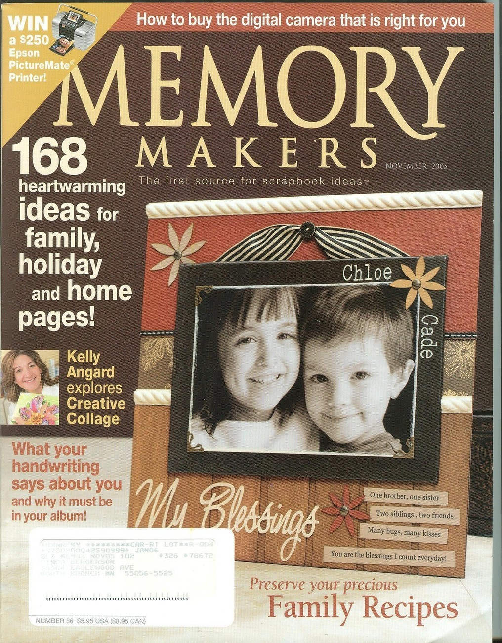 Memory Makers November 2005-Creative Collage;Handwriting;Family Recipes;168 Ide
