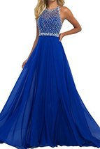 Women's Prom Dresses A Line Halter Open Back Chiffon Dresses Halter Party Dress - $138.99