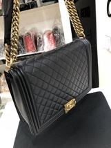 AUTH CHANEL BLACK QUILTED LAMBSKIN LARGE BOY FLAP BAG GHW image 3