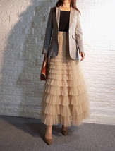 Deep Champagne Layered Tulle Skirt Outfit Long Tiered Tulle Skirt Plus Size  image 6