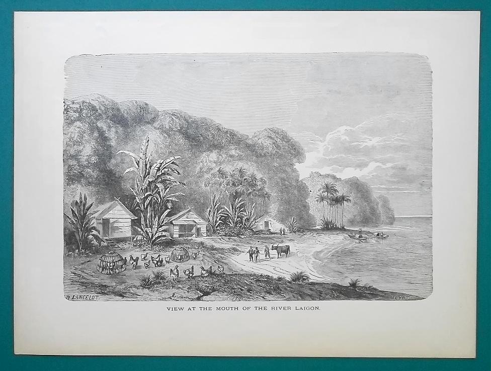 VIETNAM Mouth of River Saigon - 1877 Wood Engraving Illustration