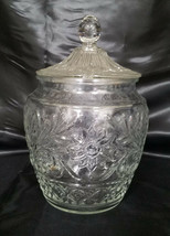 Vintage Indiana Glass Sandwich Clear Cookie Jar - Reproduction (circa 19... - $22.50