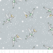 Disney Tinker Bell Tink Pixie Dust Grey Camelot 100% cotton fabric by th... - $9.54