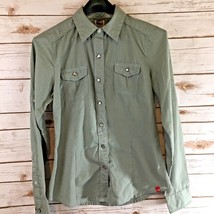 The North Face Shirt Size Small Pearl Snap Buttons Green Roll Tab Sleeves - $23.54