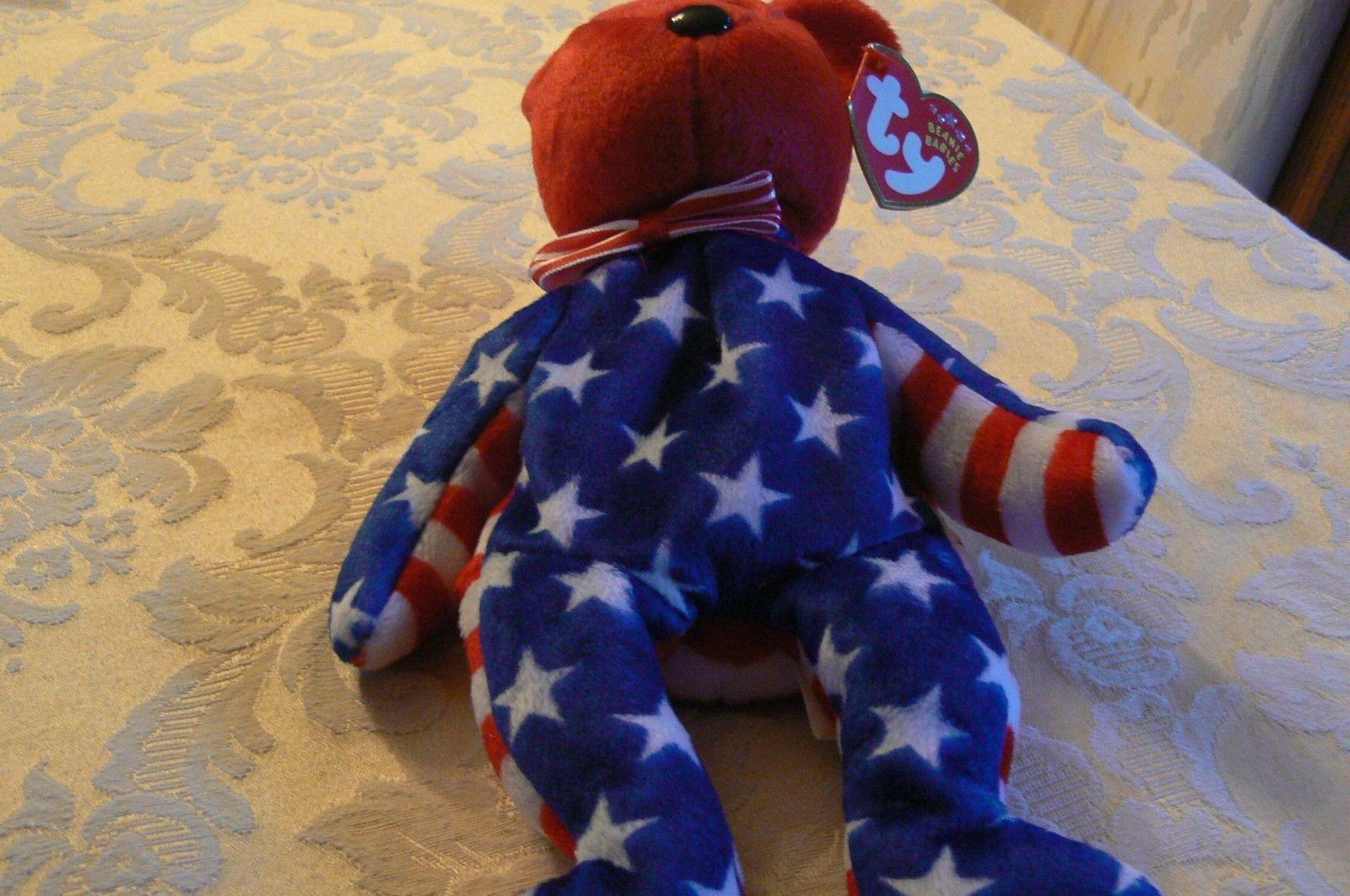 "Vintage Ty Beanie Babies Liberty "" The Bear "" Hang Tag 2001/Tush Tag 2002 Errors image 5"