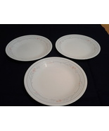 "Corelle (Lot of 3) Rose Pattern 6.75"" Salad Plate Peach/Gray, VG - $7.00"