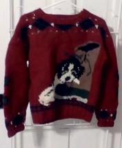 The Woolrich Woman Red Wool Sweater Puppy Dog Boot Christmas Size M/LG - $39.60