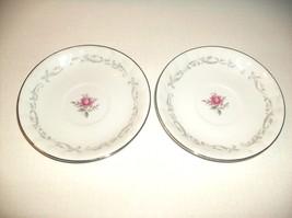 2 WHITE ROSE PRINT DESSERT PLATES ROYAL SWIRL FINE CHINA - $8.00