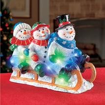 Light Up Sledding Snowmen Tabletop Winter Decoration, Indoor Charming S... - $32.05