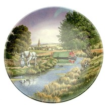 Royal Worcester Romance Of The Waterways Along The Towpath Narrowboat Plate - $37.80