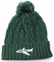 New York Jets NFL Retro Logo Cable Knit Pom Pom Football Hat Beanie - $18.99