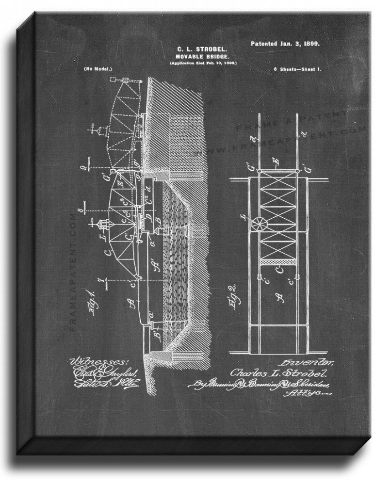 Primary image for Movable Bridge Patent Print Chalkboard on Canvas