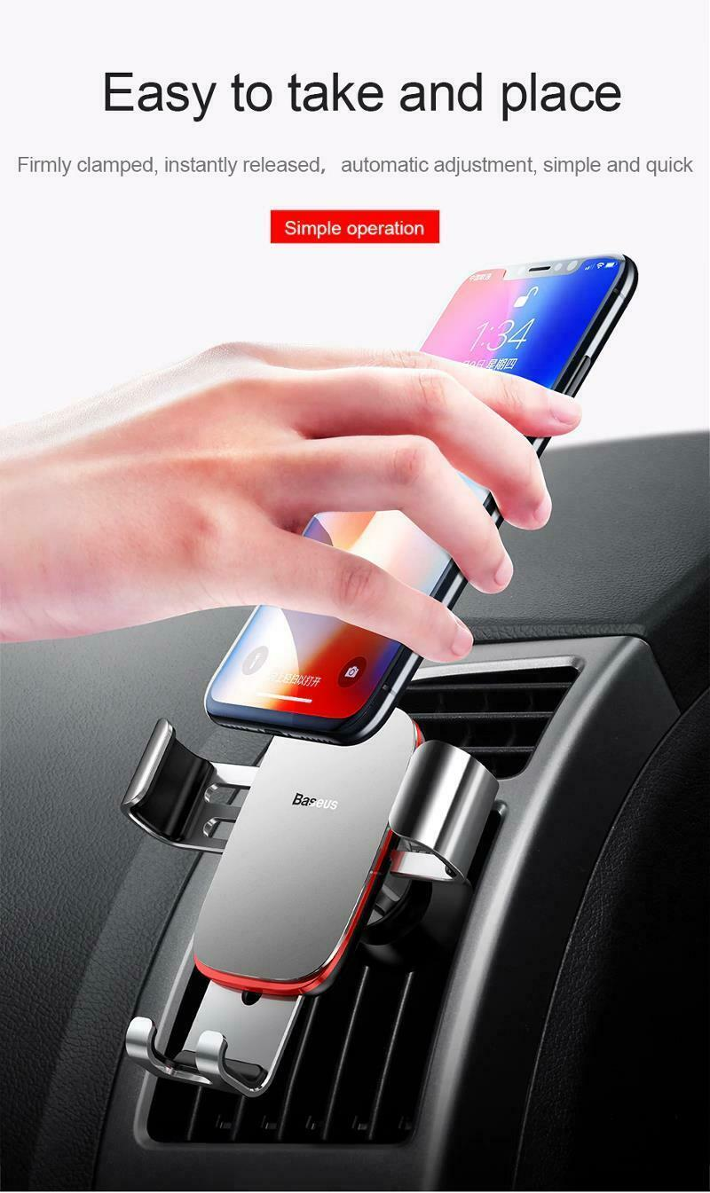 """Car Mobile Holder 4-6.0"""" Air Vent Mount Metal Gravity Universal Smartphone Stand image 11"""