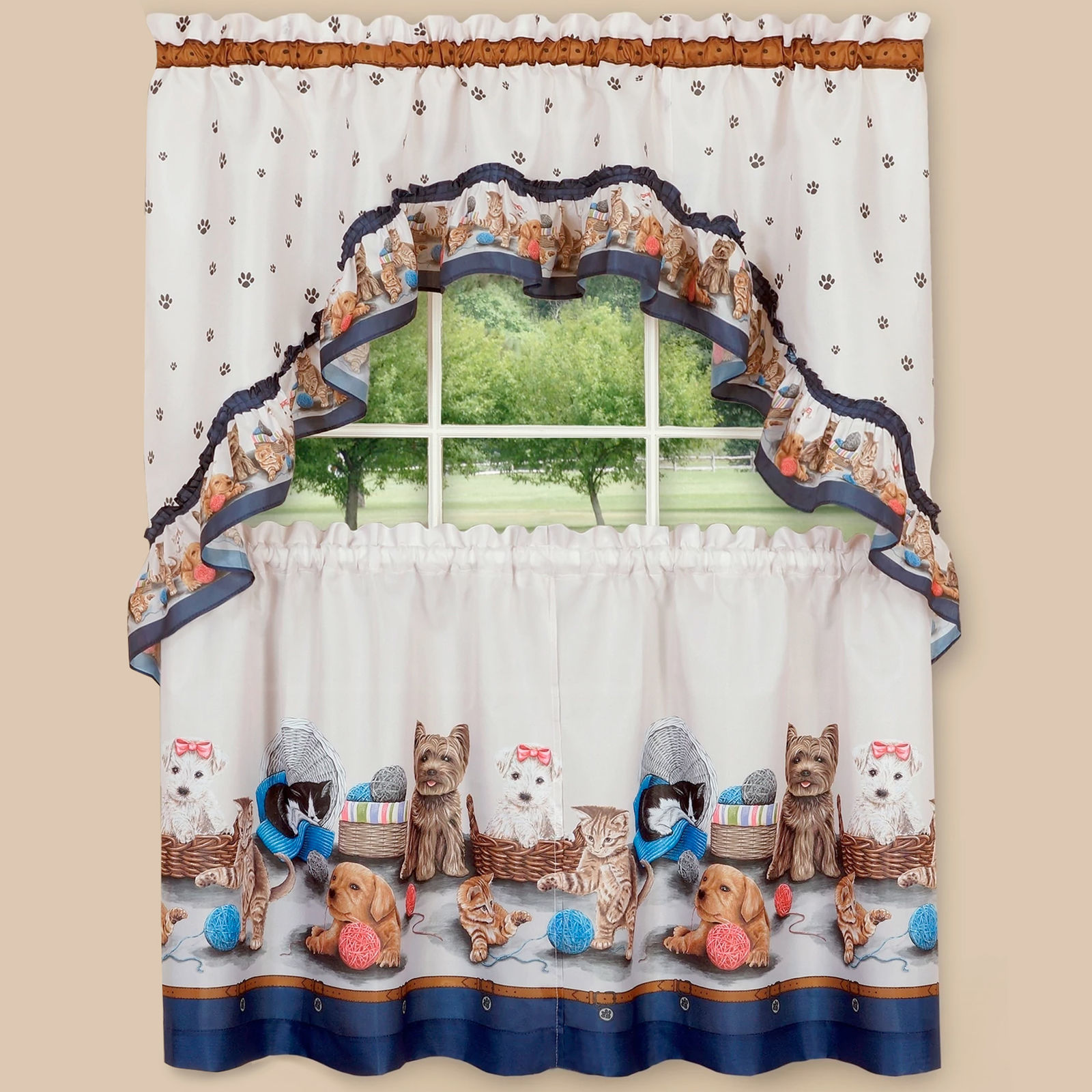 """Printed Kitchen Curtain Tier and Swag Set Precious Pets Kittens Puppies 24"""" Navy"""