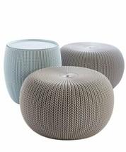 Keter 228474 Urban Knit Pouf Set, Dune/Misty Blue - £113.91 GBP