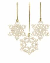 New in Box Lenox 3 Pc Mini Snowflake Ornaments Package Tie - $34.53