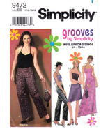 Simplicity 9472 Juniors Sewing Pattern Shirt Pants Skirt Purse Sizes 11/... - $5.49