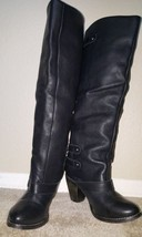Mia Black Leather Knee High Boots with Buckles Size 6 - $49.00