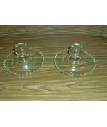 Pair of Crystal Candlewick Single Candle Holders - $12.33