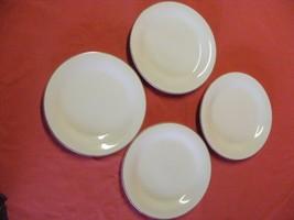 "Grace Stoneware Simplicity 4 Salad Plates 7 5/8"" Brown Trim - $19.95"