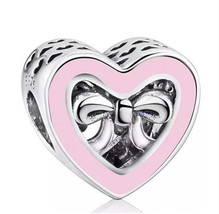 DIY 1pc. Heart Pink Bow Silver European Charm Crystal Spacer Awareness Bead - $6.05