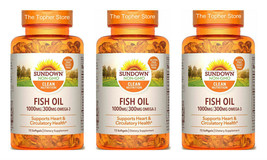 3 Sundown Fish Oil 1000mg/300mg Omega 3, Exp 4/22, 72 Ct Softgels, Pack ... - $20.97