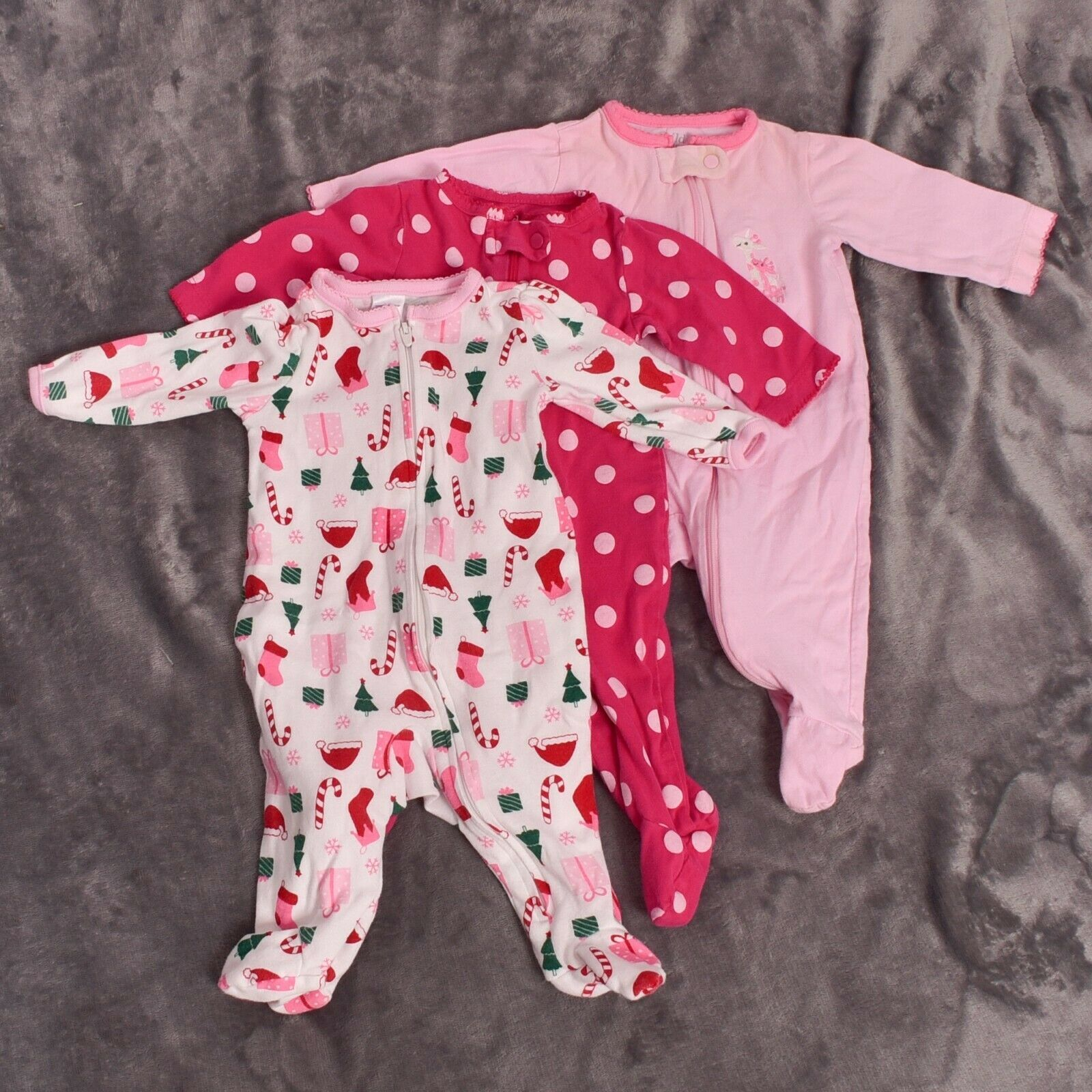 Carter's Child of Mine Footie Sleeper Christmas  Lot of 3  Size 03 Months - $14.85