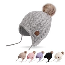 Newborn Baby Hat Cotton Velvet Winter Warm Beanie Lace Up Ball Ear Headw... - $18.99