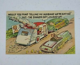 Curt Teich Comic Linen Postcard Trailer Wife Cooking Dinner Loused Up C-840 1955 - $10.00