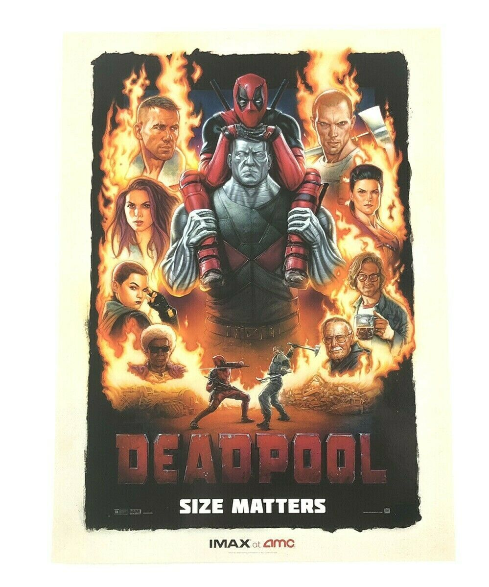Marvel's Deadpool Size Matters 9.5x13 Promo Movie Poster IMAX AMC Ryan Reynolds - $21.95