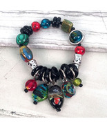 Gallery Collection Exotic Glass Bead Stretch Bracelet with Dangles by Tr... - $23.90