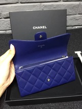 BNIB AUTH CHANEL BLUE QUILTED LAMBSKIN LARGE TRI-FOLD WALLET CLUTCH  image 5
