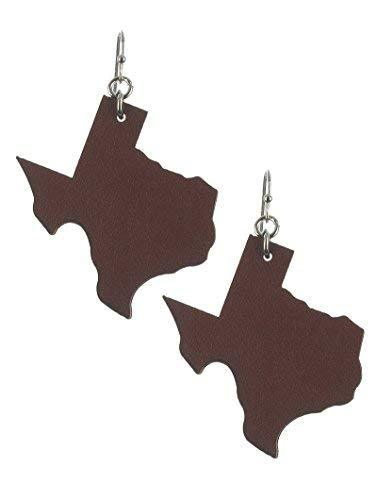 Light Weight State of Texas Dangle Earrings Faux Leather (Brown)