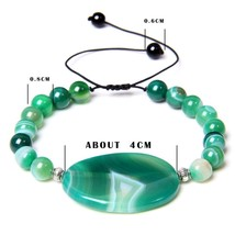 Natural green blue purple orange agates stone beads beaded bracelet Blac... - $17.82