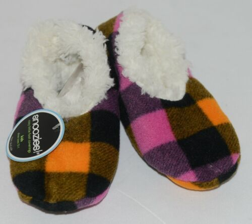 Snoozies 200192P Foot Coverings Pink Buffalo Plaid Kids 13 Through 1