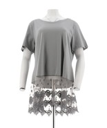 Kathleen Kirkwood Short Slv Top Lace Extender Steel Grey 2X NEW A307345 - $26.71