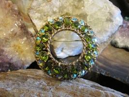 Vintage Gold Plated green Crystal  Aurora Borealis Regency Brooch Pin - $28.00