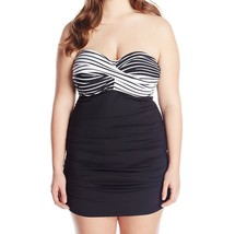 Anne Cole One Piece Sz 16W Black White Multi Swimsuit Ruched Swimdress 1... - $49.44
