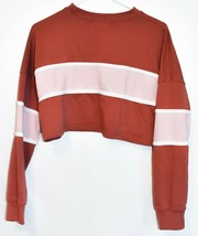 Missguided Women's Pink Rose Striped Color Block Crop Sweatshirt Size 2 image 2