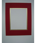 Picture Framing Mats 11x14 Mat for 8x10 photo red with shiny gold liner - $8.99