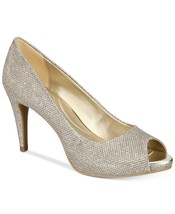 Women Bandolino Rainaa Peep-Toe Glitter Party Pumps Gold - $24.95