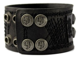 NEW NWT GUESS MEN'S CLASSIC STUDDED CUFF WRISTBAND BRACELET BLACK 102227 image 2