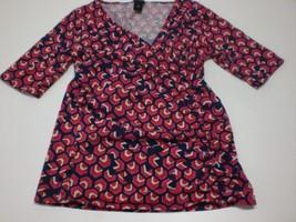 W13752 Womens ANN TAYLOR Blue/Red/Pink Stretch Surplice SHIRT Wrap Top M... - $30.89